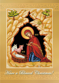 Christ in the Manger Christmas Card