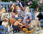 Dogs on a Bench Jigsaw Puzzle