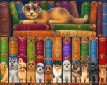 Dog Bookshelf Jigsaw Puzzle